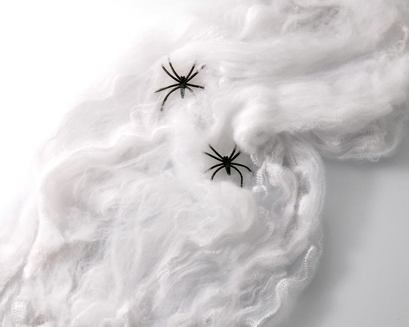 Halloween Decoration Props Stretchable Spider Web Cobweb and 2 Spiders