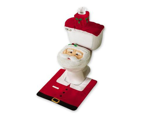 Christmas Santa Toilet Seat Cover and Rug Set