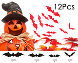 12 Pieces Bats Wall Stickers for Halloween Decoration