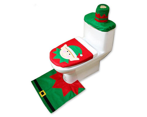 Toilet Seat Cover and Rug Set for Christmas Decoration