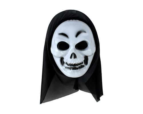 Halloween Party Masquerade Horror Scary Mask w/ Shroud - Skull