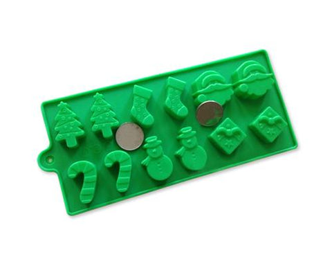 12-Cavity Silicone Baking Christmas Chocolate Mold - Green