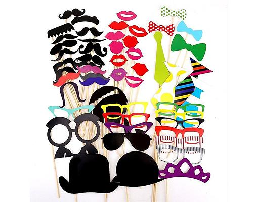 54 Pcs Party DIY Photo Booth Props on a Stick