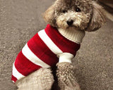Pet Dog Costume Red Stripe Turtleneck Sweater - Small