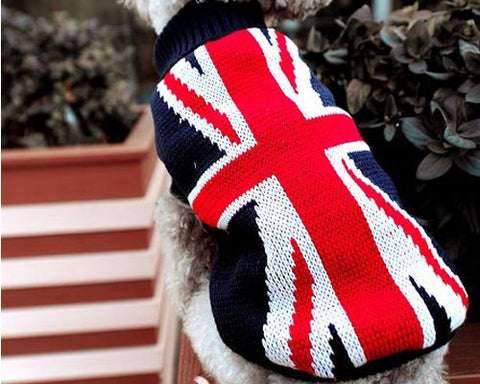 Holiday Xmas Vintage UK Flag Pet Dog Custom Turtleneck Sweater