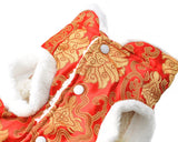Chinese Traditional Style Dog Costume Pet Clothes - Red