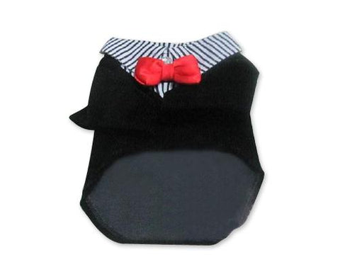 Pet Clothes Wedding Dog Tuxedo Shirts with Red Bow Tie - Black