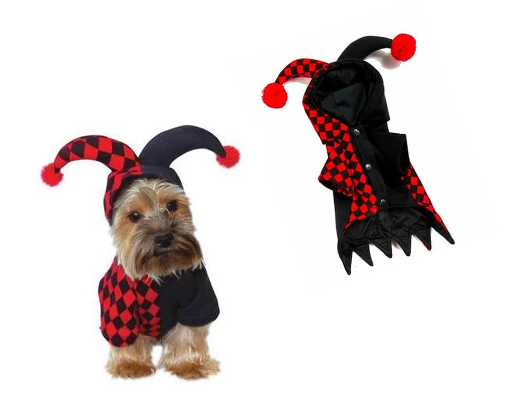 Halloween Clown Cosplay Dog Costume - Red and Black