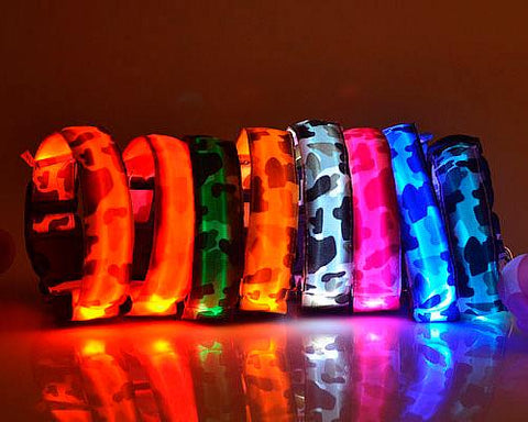 Camouflage Series Dog Collar with LED Light