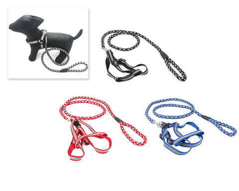 Reflective Series Nylon Dog Collar and Harness Set