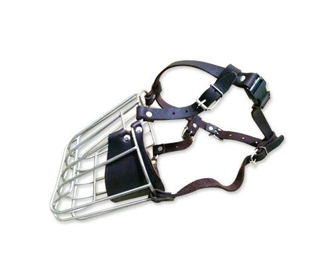 Metal Wire Basket Series Pet Dog Muzzle with Adjustable Strap - Black