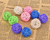 10 Pcs Woven Rattan Pet Ball with Bell Sound