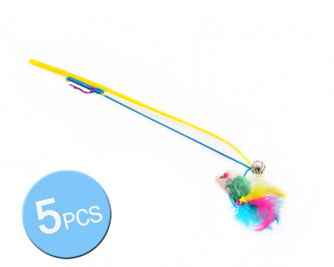 5Pcs Cat Feather Toy Chaser Wand with Bells