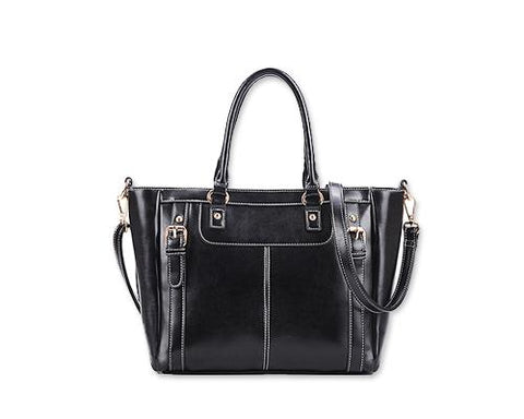 Elegant Women Leather Messenger Shoulder Handbag - Black