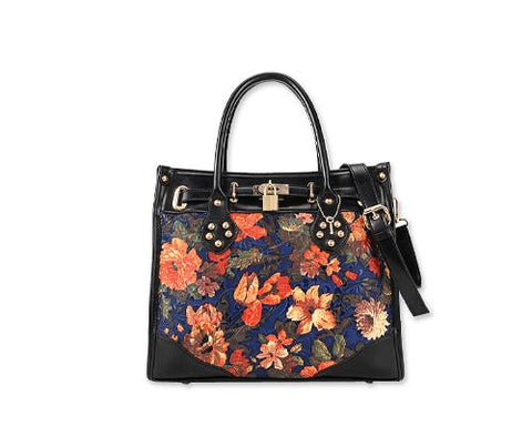 Vintage Women Leather Messenger Shoulder Handbag - Flower