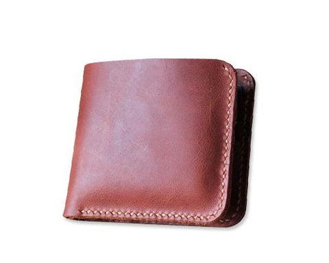 Classic Handmade Synthetic Leather Bifold Wallet for Men - Red