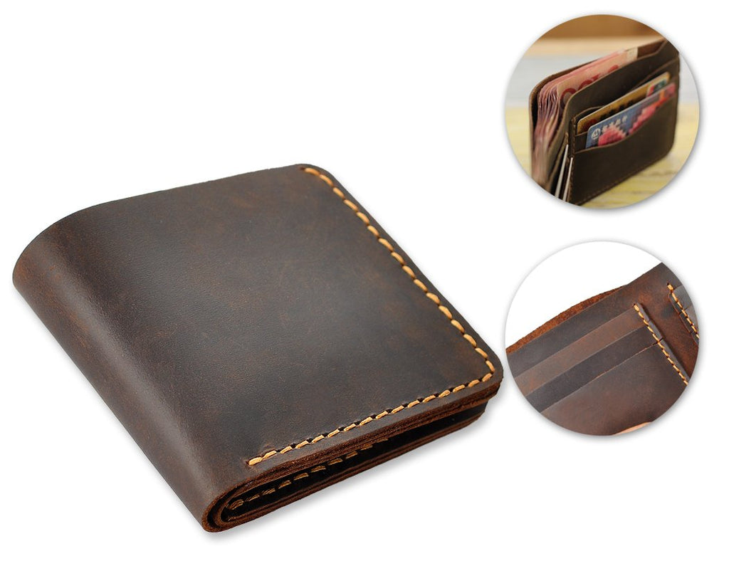Classic Handmade Synthetic Leather Bifold Wallet for Men - Black