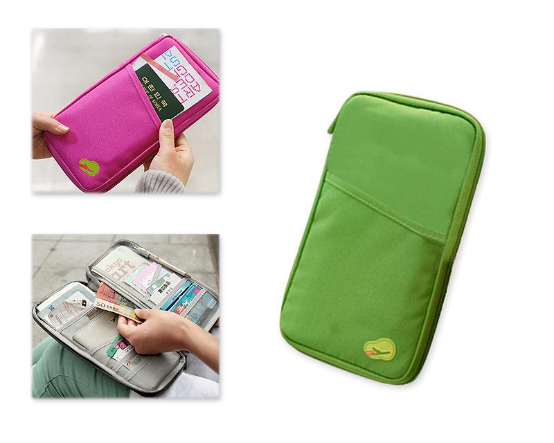 Multi-function Zipper Passport Wallet - Green