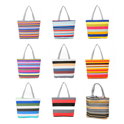 16 Inches Striped Canvas Tote Beach Handbag