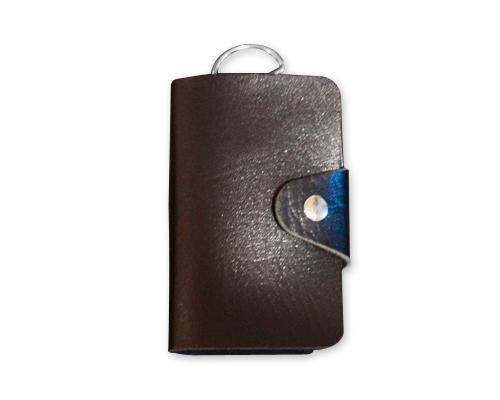 Portable PU Leather Snap Button Closure Key Case - Black