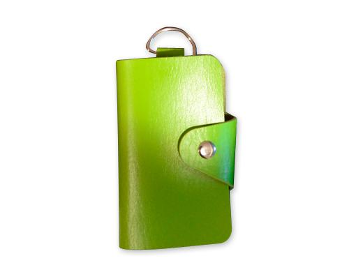 Portable PU Leather Snap Button Closure Key Case - Green
