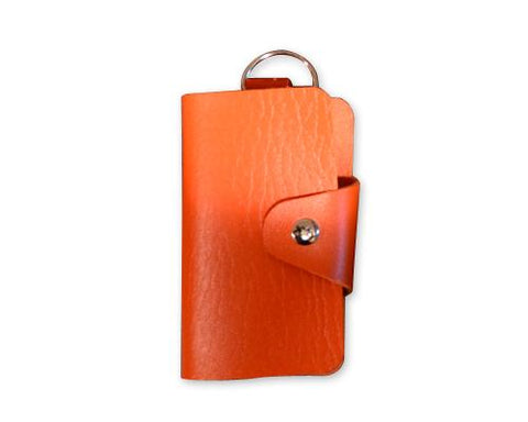 Portable PU Leather Snap Button Closure Key Case - Orange
