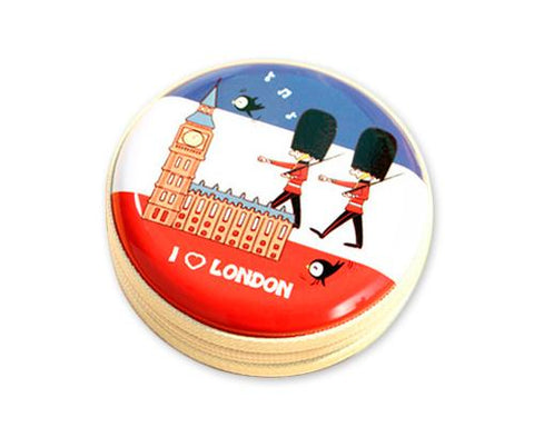 London Soldier Round Metal Coin Pouch - Blue and Red