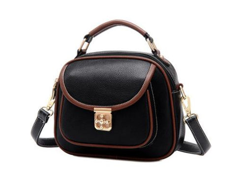 Vintage PU Leather Crossbody Satchel Bag - Black