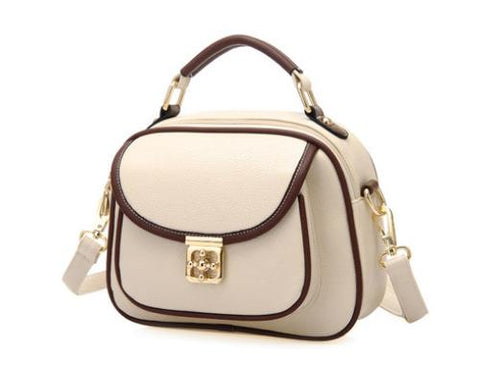 Vintage PU Leather Crossbody Satchel Bag - White