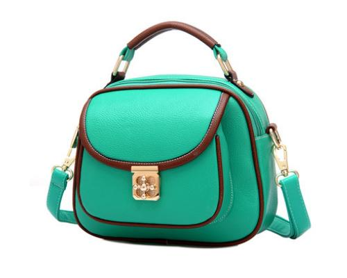 Vintage PU Leather Crossbody Satchel Bag - Green