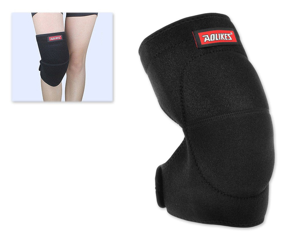 Adjustable Sports Thick Sponge Leg Knee Pads Braces Protector-L+Black