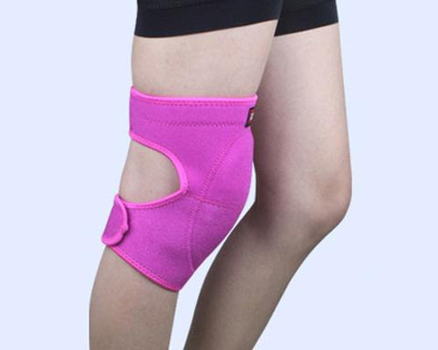 Adjustable Sports Thick Sponge Leg Knee Pads Braces Protector-L+Pink