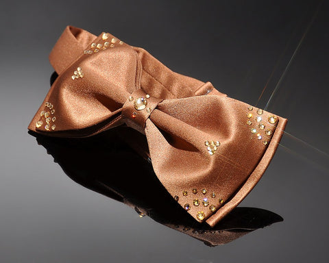 Swarovski Crystal Rhinestones Wedding Bow Tie for Men - Brown