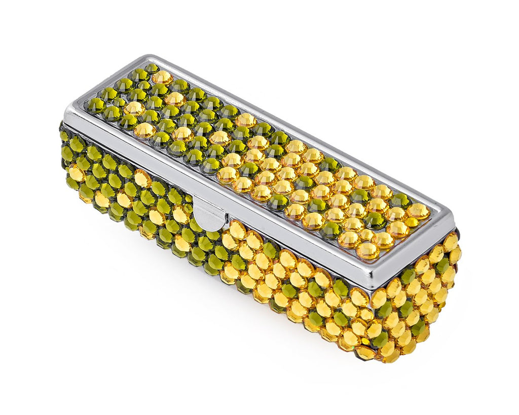 Gradation Swarovski Crystal Lipstick Case With Mirror - Green & Yellow