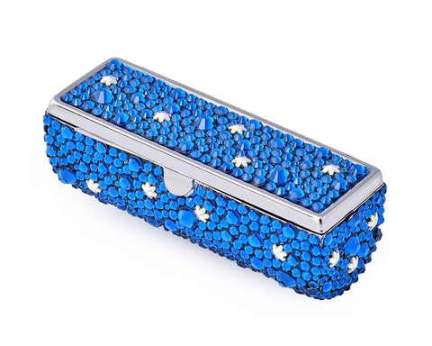 Stars Swarovski Crystal Lipstick Case With Mirror - Blue