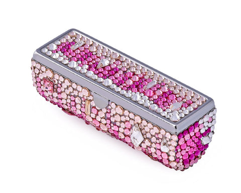 Medley Swarovski Crystal Lipstick Case With Mirror - Pink