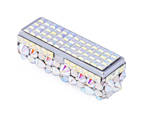 Diamond Swarovski Crystal Lipstick Case With Mirror - White