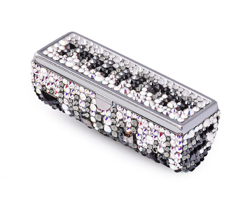 Medley Swarovski Crystal Lipstick Case With Mirror - Black