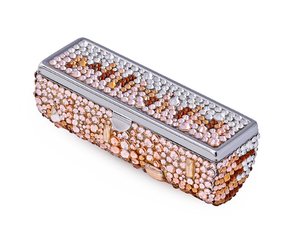 Medley Swarovski Crystal Lipstick Case With Mirror - Brown