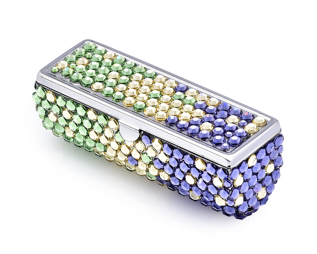 Gradation Swarovski Crystal Lipstick Case With Mirror - Green & Purple