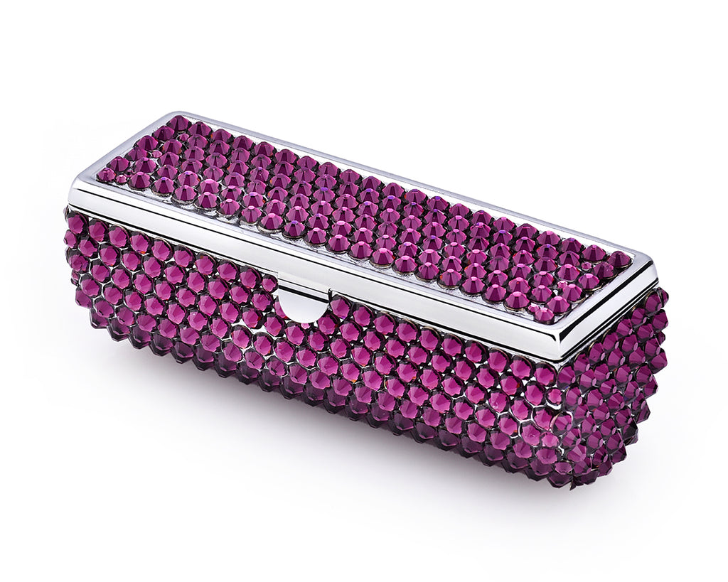Classic Bling Swarovski Crystal Lipstick Case With Mirror - Purple