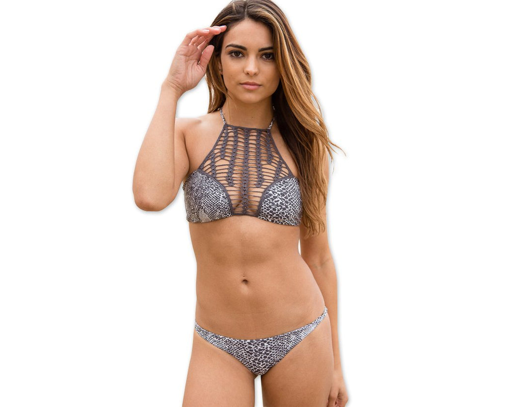 Crochet High Neck Halter Bikini Set - Gray