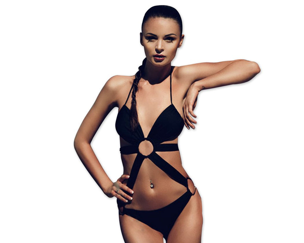 Lace Up Backless Halter Sexy Monokini Swimwear - Black