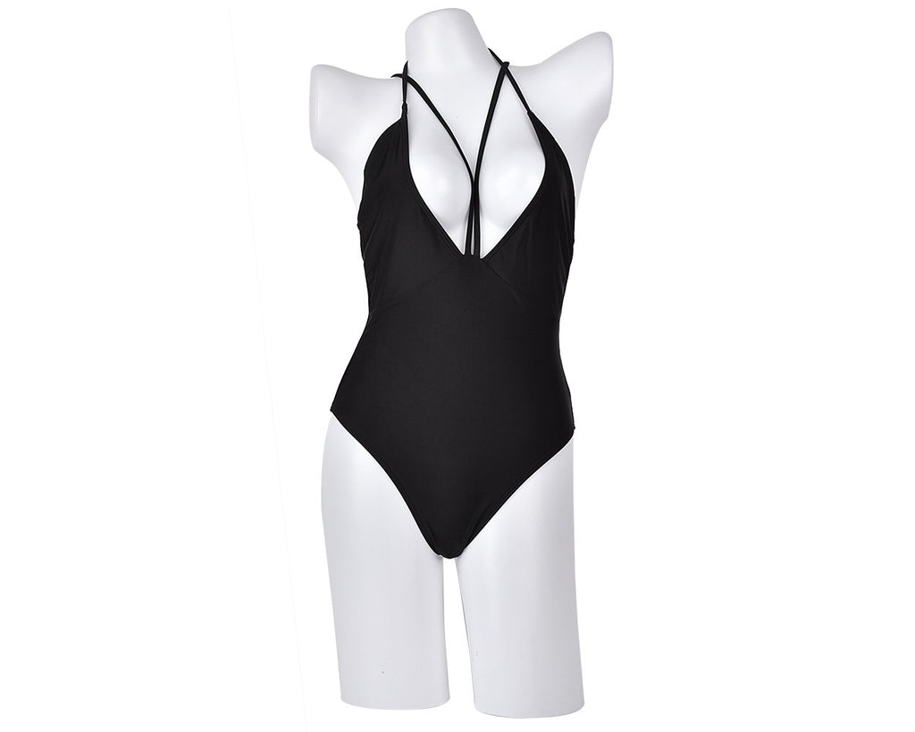 Black Deep V Halter Monokini Bathing Suit