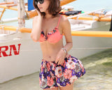 Light Floral Bikini Set with Cover Up Blouse and Shorts