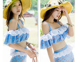 3 Pcs Blue High Waist Bikini Set with Off-the-Shoulder Cover Up