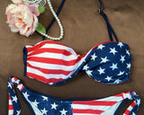 Star Stripe Print Halter Lace Up Bikini Set