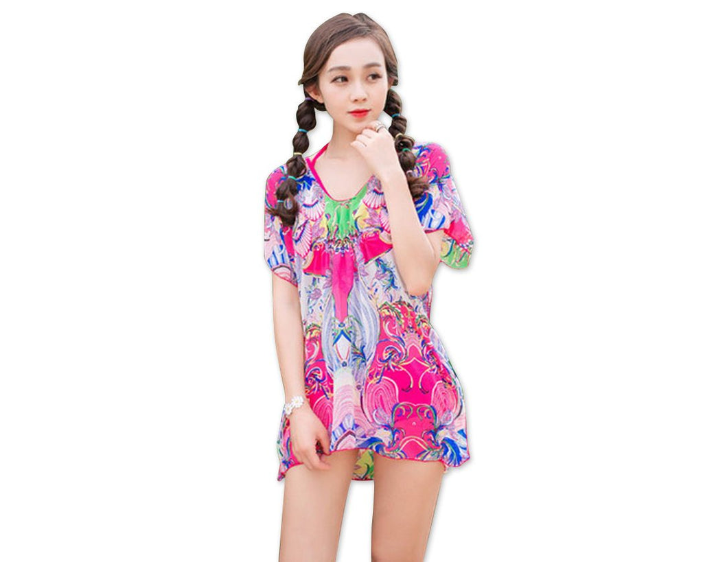 3 Pcs Floral Swimsuit Set with Tropical Cover Up Blouse - Magenta