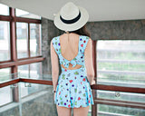 Lovely Girl Series Heart Print Swimdress - Blue