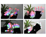 2 Pcs 6 Modes LED Flashing Finger Lighting Gloves - Black
